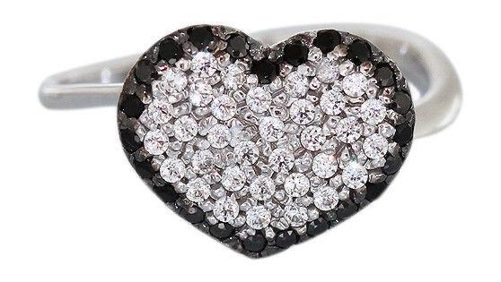 Herz in Schwarz Weiß bezaubernder Ring Weißgold 585 Weißgoldring Damenring