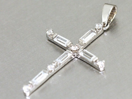 Kreuz Anhänger Weißgold 585 mit Zirkonias Gold 14 Karat edler Weißgoldanhänger