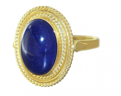 Ring Gold 750 Lapis Lazuli Goldring großer Lapiscabochon Damenring 18 Karat
