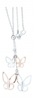 Silberkette 925 Schmetterling Y Kette Rosegold Halskette massiv Karabiner Damen