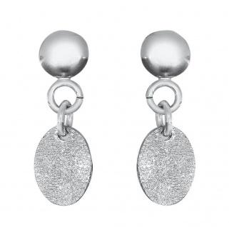 Ohrhänger Weißgold 585 ovale Ohrstecker Ohrringe Gold 14 Kt diamantiert