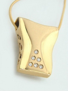 Collier mit Brillanten - Kette und Anhänger Gold 585 - Goldkette Schlangenkette