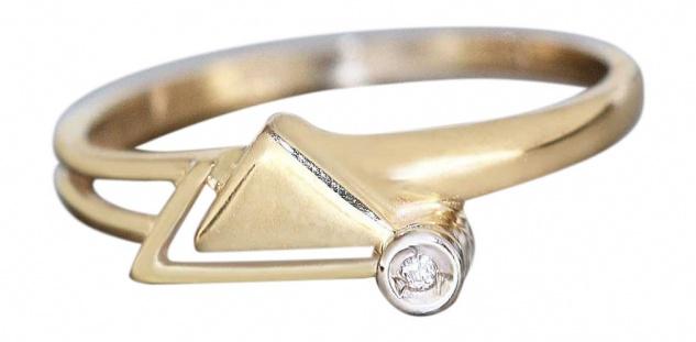 Zarter Brillantring - Ring Gold 585 - modernes Design - Goldring Damenring 14 kt