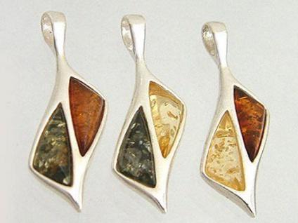 Eleganter Silberanhänger 925 mit echtem Bernstein multicolor - Anhänger Silber