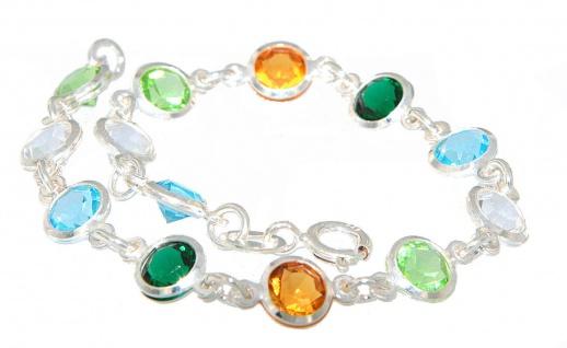 Armband Silber 925 Zirkonias Armkette multicolor Steine bunt 19 cm