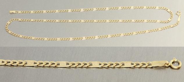 Goldkette 585 Panzerkette 14 Kt mit Dekorteilen flache Kette Gelbgold 50 / 55 cm