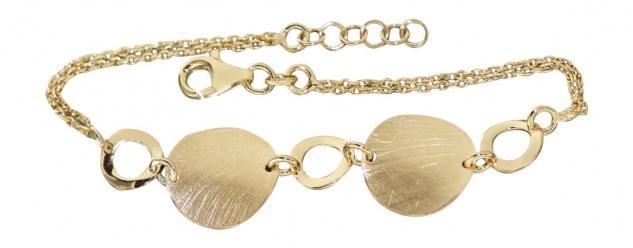 Elegantes Armband Silber 925 Gold Silberarmband 2 reihige Armkette vergoldet