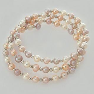 Armreif Perlenarmband mit Silberkugerl Armband Perlen Zuchtperlen in Rosa