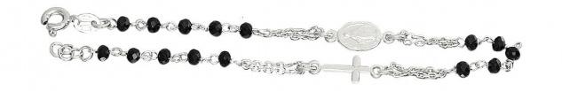 Rosenkranz Armband Silber 925 Silberarmband mit schwarzen Perlen Kreuz u Maria