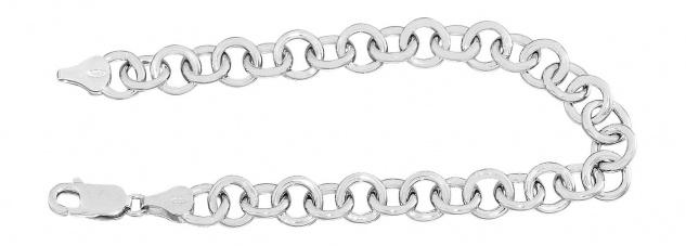 Silberarmband 925 runde Glieder 20 cm Armband Armkette rhodiniert - für Charms