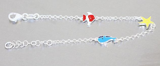 Armband Silber 925 Wal Seestern Fisch bunt Kinder Mädchen Armkette Karabiner