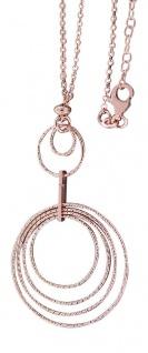 Modernes Collier Silber 925 Rotgold Silberkette Halskette Kette Rose vergoldet
