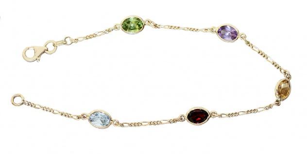 Edelstein Armband Gold 585 Goldarmband multicolor Gelbgold Armkette 14 Karat