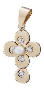 Kleines Goldkreuz 585 mit Perle u. Zirkonias Anhänger Kreuz Goldanhänger - Taufe