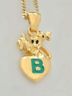 Goofy Kette Anhänger Gold Buchstabe B Panzerkette vergoldet Goldkette