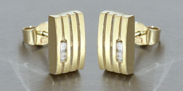 Ohrstecker Gold 585 Brillanten 0, 08 ct Goldohrstecker mit Diamanten Ohrringe - Vorschau 3