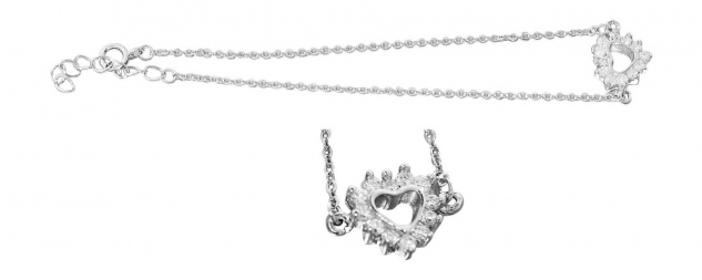 Kette Armband Silber 925 Herz mit Zirkonias Silberkette Armband oder Set