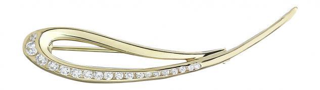 Wunderschöne Brosche Goldbrosche 585 mit Zirkonias elegante Brosche Gold 14 kt
