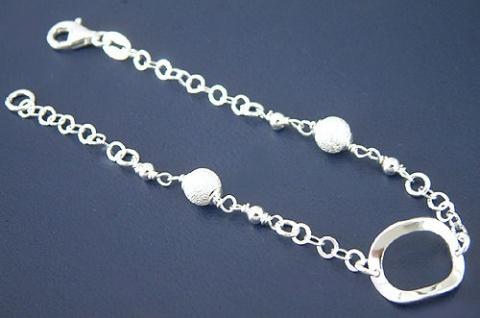 Armband Silber 925 mit diamantierten Kugeln Silberarmband massiv Armkette