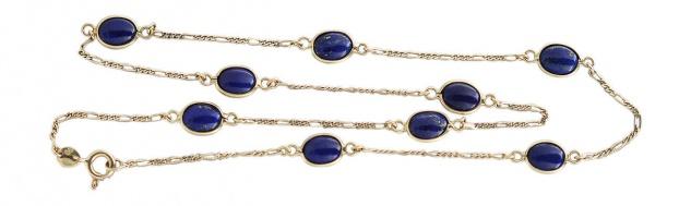 Echte Goldkette 750 / 18 kt mit Lapis Lazuli Cabochons Lapis Kette Gold