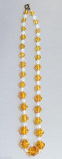 Halskette mit Kristallen in der Farbe von Citrinen und Bergkristallen, 40 cm