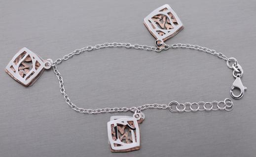 Designer Armband Silber 925 Rosegold Bettelarmband Armkette mit Anhänger bicolor