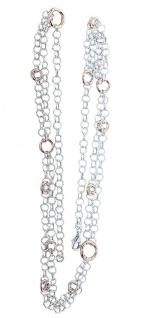 Kette Silber 925 Rotgold Silberkette Collier 65 cm lange Halskette massiv