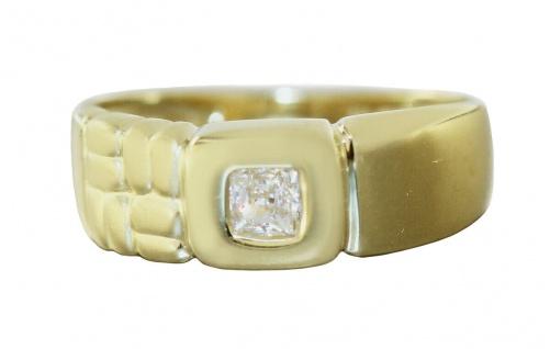 Breiter Ring Gold 750 Zirkonia Carree 18 Kt Damenring Super Design RW 52