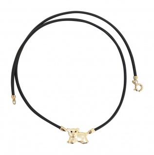 Collier mit Anhänger Gold 375 Bär Kautschukkette Goldanhänger Damen 9 Karat