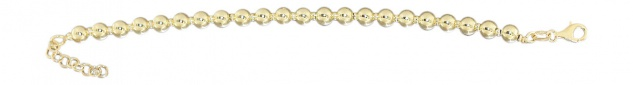 Armband Silber 925 vergoldet - Silberarmband - 6 mm Kugelarmband Gold - Armkette