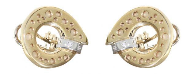 Große Ohrclips Gold 585 bicolor mit Brillanten Ohrstecker Goldohrringe Ohrringe