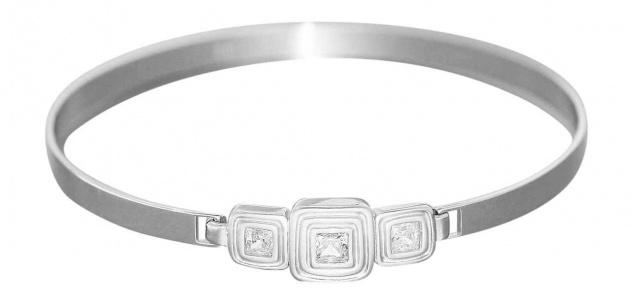 Armreif Silber 925 mit Zirkonia Baguette moderner Silberreif Armband Armspange