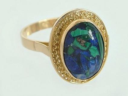 Großer klassischer Ring Gold 750 m. Azurit - edler Goldring Damenring Azuritring