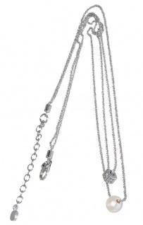 Silberkette 925 Anhänger Perle u Würfel 2-reihiges Collier Damen Silberkette
