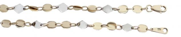 45 cm Goldkette 585 bicolor Halskette dekorative Glieder Kette Collier Gold 14kt