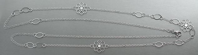 92 cm lange Silberkette 925 rhodiniert Halskette Kette Silber Blumen Glieder