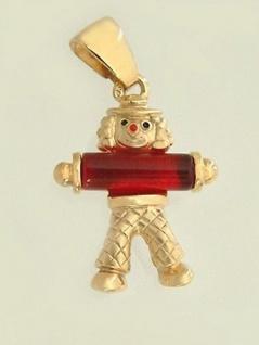 Anhänger Gold 375er - lustiger Clown mit Stein - Goldanhänger - Goldclown 9 kt