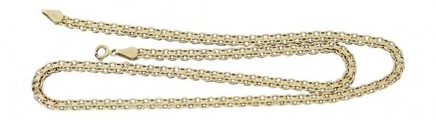 Flaches Collier Gold 585 Goldkette 45 cm Kette Gold Halskette geschliffen Damen