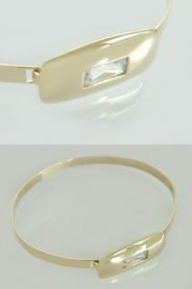 Massiver Armreif Gold 585 - Zirkonia Baguette - Armspange Armband - Goldarmreif