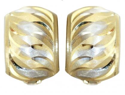 Breite Klappcreolen Gold 585 bicolor Ohrringe Creolen Gold 14kt Ohrschmuck