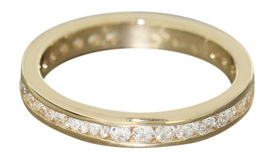 Goldring 585 - beliebter Memoryring - massiver Ring Gold mit Zirkonia - Bandring