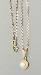 Moderner Anhänger an Kette in 14 kt Gold Goldanhänger Goldkette Venezianerkette