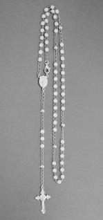 Rosenkranz Kette Silber 925 mit weißen Perlen Kreuz und Hl. Maria Rosario