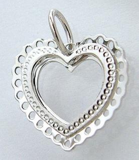 Anhänger Herz in Weißgold 585 - Weißgoldanhänger - Liebeserklärung - 14 kt Gold