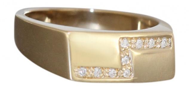Massiver Goldring 585 mit Brillanten Ring Gelbgold Damenring Brillantring Rw 57