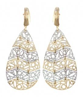 Lange Ohrhänger Gold 585 bicolor Ohrringe Ohrschmuck Damen 14 Karat Brisuren