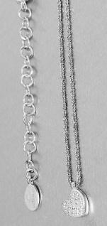 Herz Anhänger m Silberkette 925 Halskette Silberherz Zirkonias Karabiner Collier