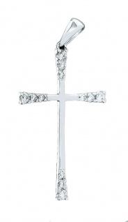 Anhänger Kreuz Weißgold 585 mit Zirkonias Weißgoldkreuz Kettenanhänger 14 Kt