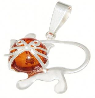 Anhänger Katze Silber 925 Bernstein Cabochon Kettenanhänger Silberkatze