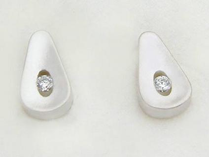 Ohrstecker Silber 925 Tropfen mit Zirkonia Ohrringe Ohrschmuck Damen Herren